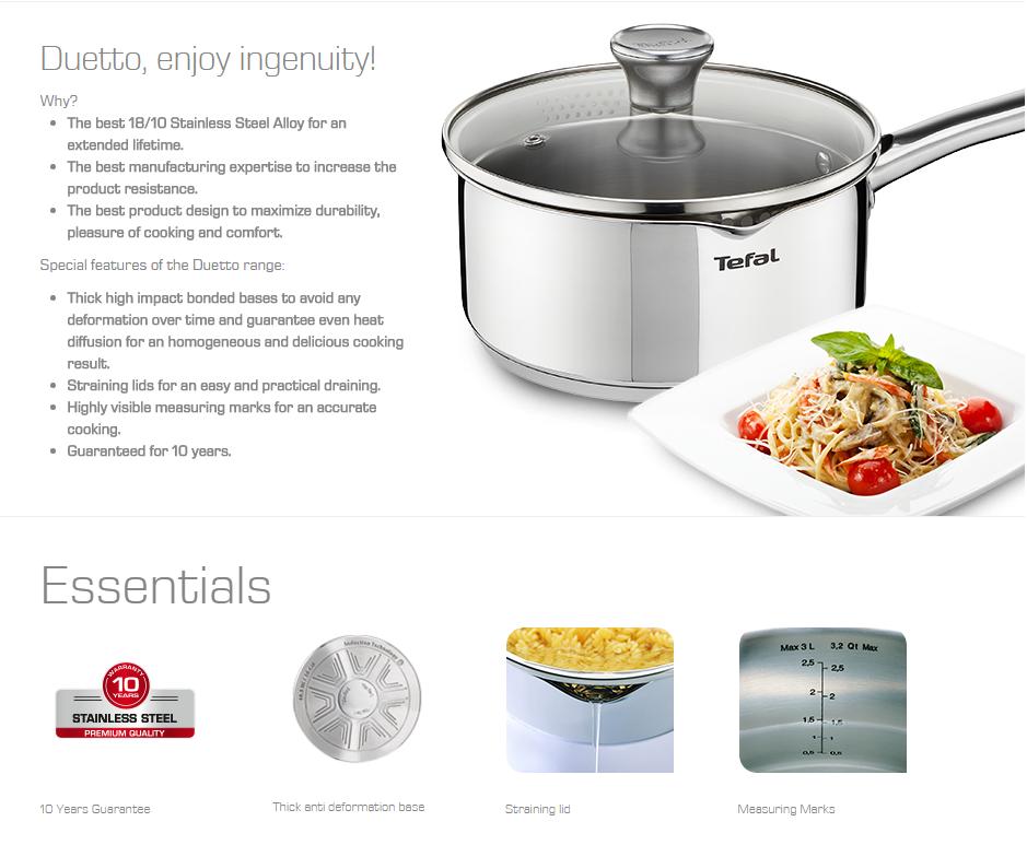 Tefal duetto acero inoxidable juego de ollas 10 piezas for Productos para cocina