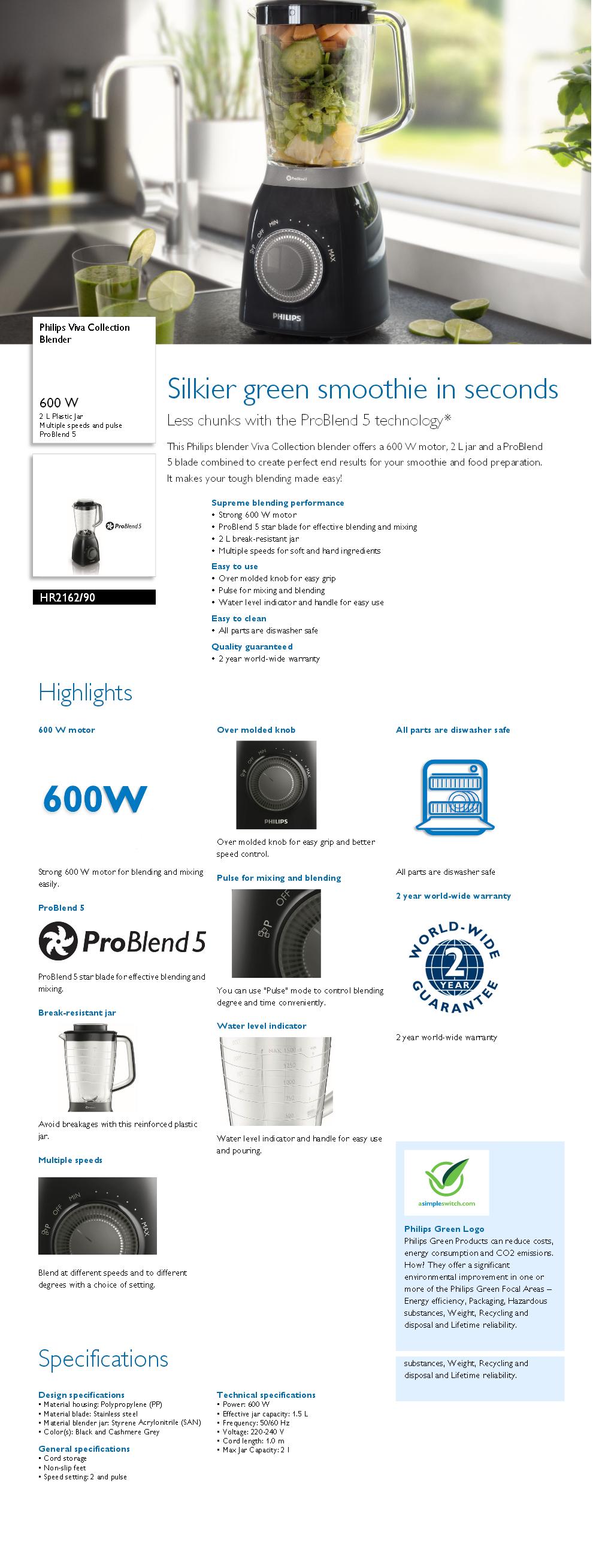 HR2162//00 -/Mixer avec technologie ProBlend 5 Viva Collection technologie Pulse et Ice Crushing Philips