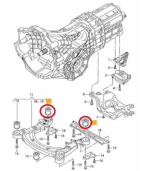 2x Audi A6 C6 4f Allroad Front Subframe Rear Bush Bushing Kit Set
